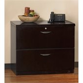 Mayline Mira Unfinished Top Lateral 2 Drawer File in Espresso