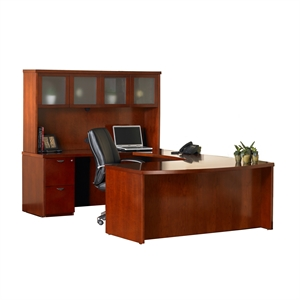 Mayline Mira Series Typical 9 Wood U-Shaped Desk Set in E...