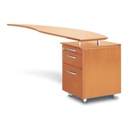 Mayline Napoli Curved Desk Right Return with Pedestal in Golden Cherry