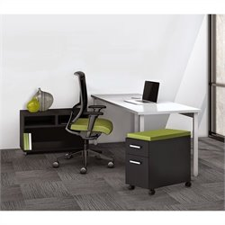 Mayline e5 Quickship Typical 3 Office Set in White and Raven