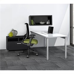 Mayline e5 Quickship Typical 4 Office Set in White and Raven