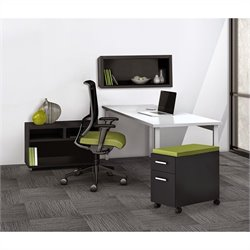 Mayline e5 Quickship Typical 8 Office Set in White and Raven