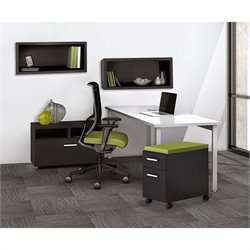 Mayline e5 Quickship Typical 14 Office Set in White and Raven