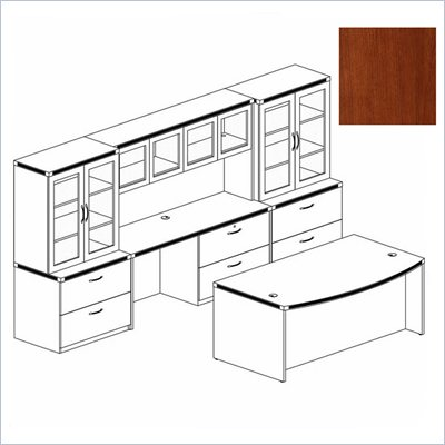 Mayline Aberdeen Bow Front Desk, Hutch with Glass Doors, Credenza, and 2 Glass Display Cabinets
