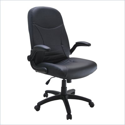Mayline Comfort Big and Tall Pivot Arm Chair in Black Leather