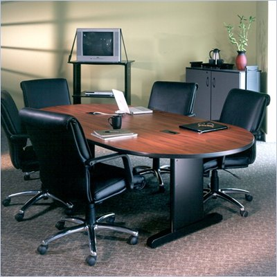 Mayline CSII Boat Shaped 8' Narrow Conference Table with Trestle Base