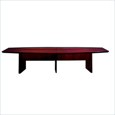 Mayline Corsica Boat Shape Conference Table with Slab Base in Mahogany