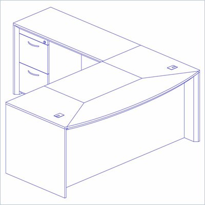 Mayline Corsica 72 Inch Bow Front Executive Computer Desk, Left Return, Center Drawer and Filing Cabinets