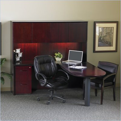 Mayline Corsica Wood 60&quot; Peninsula L-Shaped Desk