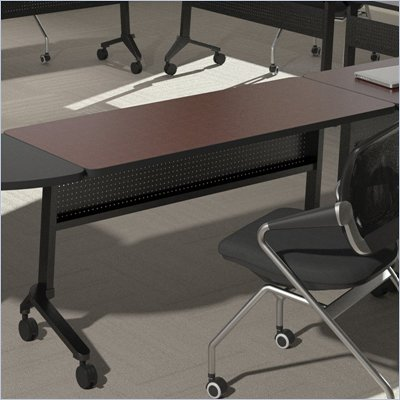"Mayline Flip-N-Go 18"" x 72"" Low Pressure Laminate T-Mold Table in Mahogany"