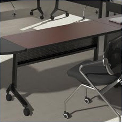 "Mayline Flip-N-Go 24"" x 60"" Low Pressure Laminate T-Mold Table in Mahogany"