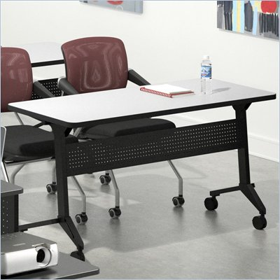 "Mayline Flip-N-Go 24"" x 72"" Low Pressure Laminate T-Mold Table in Folkstone"