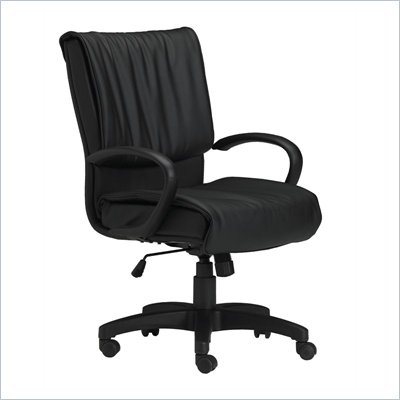 Mayline Mercado Black Genuine Leather, Mid Back, Loop Arms Conference Chair