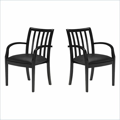 Mayline Mercado Genuine Black Leather Seat &amp; Slat Back Solid Espresso Walnut Wood Chair (Set of 2)