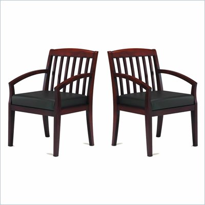Mayline Mercado Genuine Black Leather Seat & Slat Back Solid Sierra Cherry Wood Chair (Set of 2)