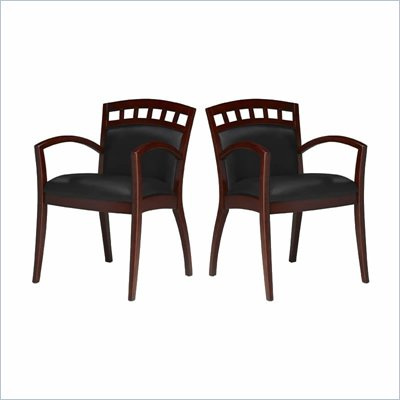 Mayline Mercado Solid Wood Frame Side Guest Chair w/ Geniune Black Leather Cushions (Set of 2)