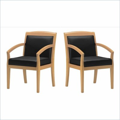 Mayline Mercado Genuine Black Leather Seat &amp; Solid Maple Wood Frame Chair (Set of 2)