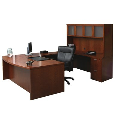 Mayline Mira Desk, Credenza, Hutch, Bridge and Two (2) Box-Box-File Pedestals