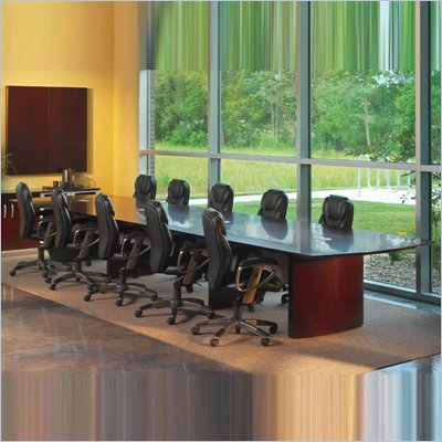 Mayline Napoli Curved End 24' Conference Table with Curved Base