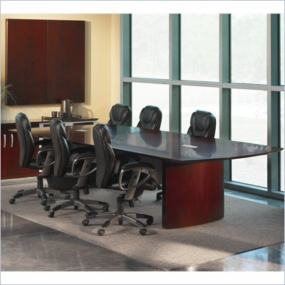 Mayline Napoli Curved End Conference Table in Mahogany Finish