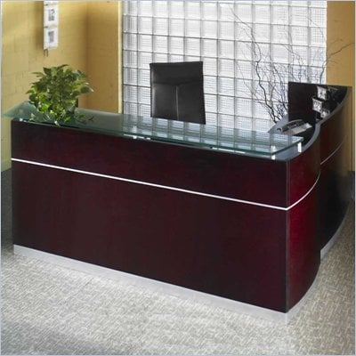 Mayline Napoli 87&quot; Reception Desk with Return and Privacy Screen