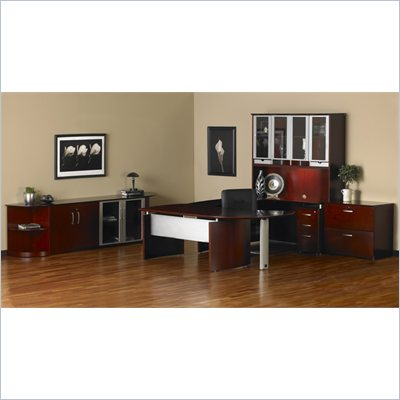 Mayline Napoli 72&quot;&quot; Desk Set with Curved Extension, Left Return with Pedestal, High Wall Cabinet and 2 Wardrobe Cabinets