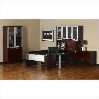 "Mayline Napoli 72"" Desk with 2 Curved Returns, High Wall Cabinet and 2 Wardrobe Cabinets"