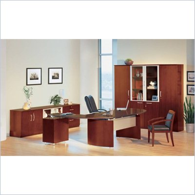 "Mayline Napoli 72"" Desk Set with 2 Curved Left Returns, Center Drawer, High and Low Wall Cabinets, Lateral File and 2 Wardrobe Cabinets"