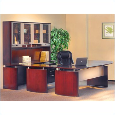 Mayline Napoli 63&quot; Desk Set with Curved Extension, Center Drawer, Right-Hand Bridge, Credenza, Hutch, Pedestal and Trays
