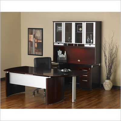 Mayline Napoli 63&quot; Desk with 2 Curved Single Pedestal Returns and Center Drawer