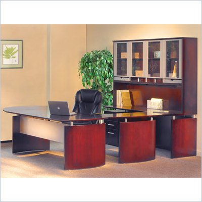 Mayline Napoli 63&quot; Desk Set with Curved Extension, Center Drawer, Left-Hand Bridge, Credenza, Hutch, Pedestal and Trays