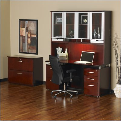 Mayline Napoli 72&quot; Desk with Curved Single Pedestal Extension and Center Drawer