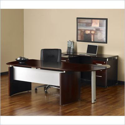 Mayline Napoli 63&quot; Desk with Curved Extension, Right Single Pedestal Return, Center Drawer and Low Wall Cabinet