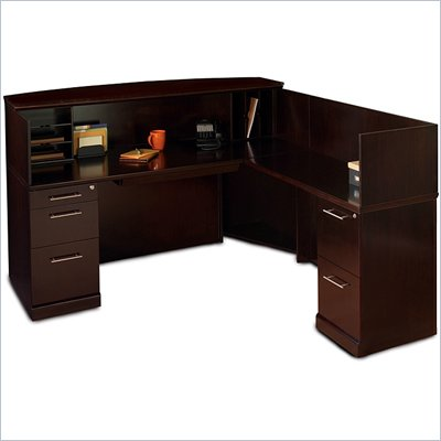 Mayline Sorrento Reception Desk with Veneer Counter and Right Return