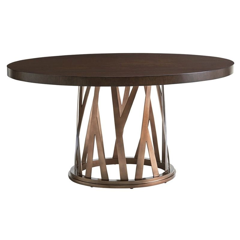 Maklaine 60 Round Dining Table in Bronze and Mocha Brown