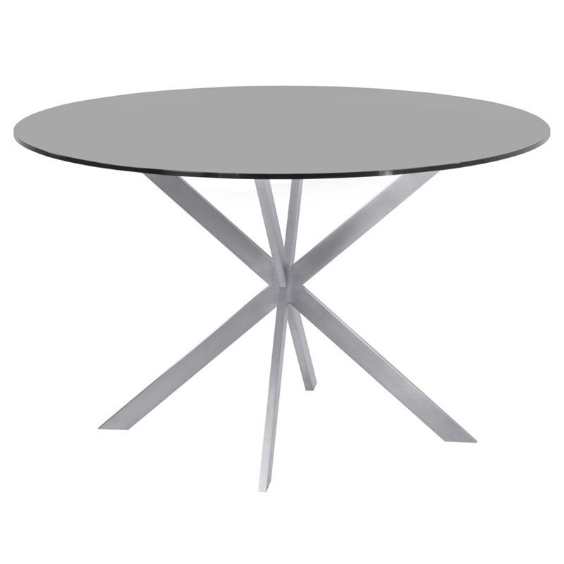 Maklaine 48 Round Glass Top Dining Table in Gray