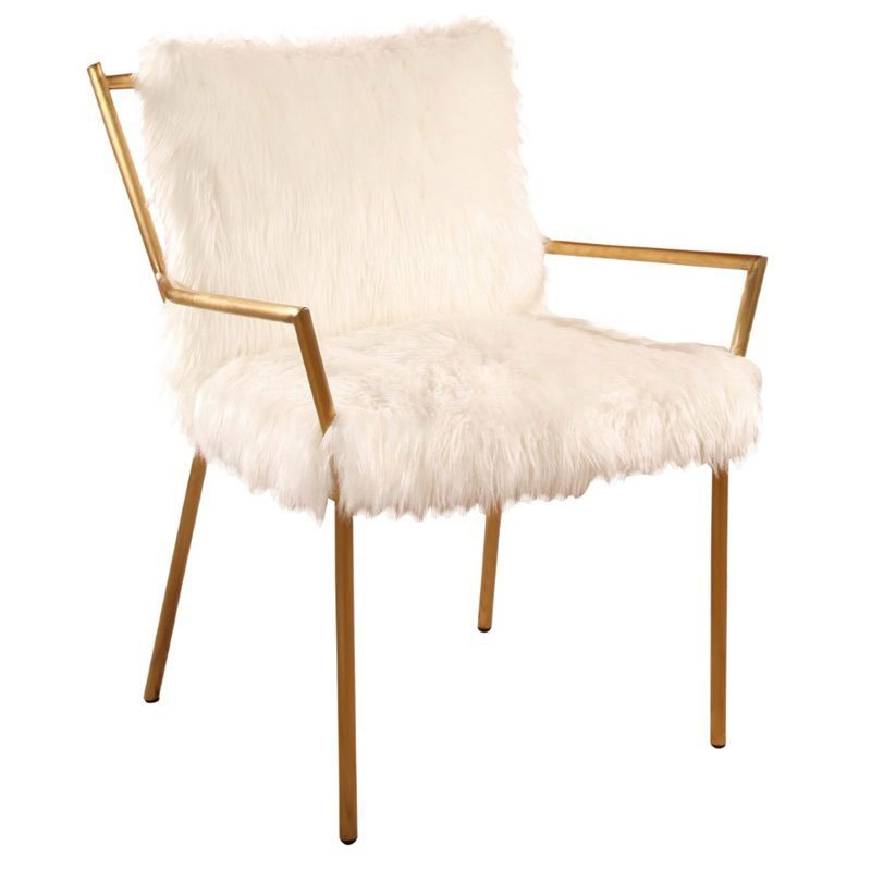 Maklaine Stainless Steel Faux Fur Armchair in Gold