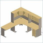 Bush Light Oak Advantage Series Corner Desk with Hutch