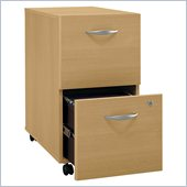 Bush Series C 2 Drawer Vertal Mobile Wood File Cabinet in Light Oak
