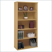 Bush Series C Open Double 5 Shelf Wood Bookcase in Light Oak