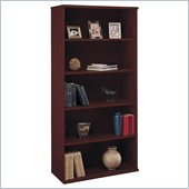 Bush Series C Open Double 5 Shelf Wood Bookcase in Mahogany