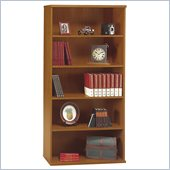 Bush Series C 5 Shelf Open Double Wood Bookcase in Natural Cherry