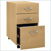 Bush Series C 3 Drawer Vertal Mobile Wood File Cabinet in Light Oak