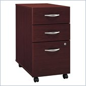 Bush Series C 3 Drawer Vertical Mobile Wood File Storage Cabinet in Mahogany