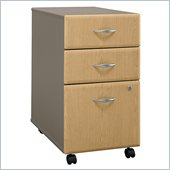 Bush Series A 3 Drawer Vertical Mobile Wood File Cabinet in Light Oak