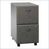 Bush Series A 2 Drawer Vertical Mobile Wood File Cabinet in White Spectrum and Pewter