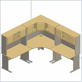 Bush Advantage Series Corner Desk Set in Beech and Grey