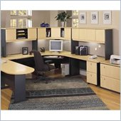 Bush Series A U-Shape Wood Home Office Suite in Beech and Grey