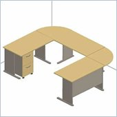 Bush Series A Beech and Grey Advantage U-Shaped Desk