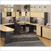 Bush Beech and Grey Advantage U-Shaped Corner Desk Office Suite